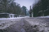 Roads barely usable in the aftermath of Storm Emma, also known as the Beast from the East, which hit Ireland at the start of March: a lot of slush created by all the snow melting. - 195242658
