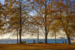 People walking along the Pacific Ocean in Stanley Park in Vancouver on a beautiful autumn day