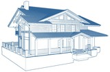 Residential Family House Building Vector Isolated On White - 195245899