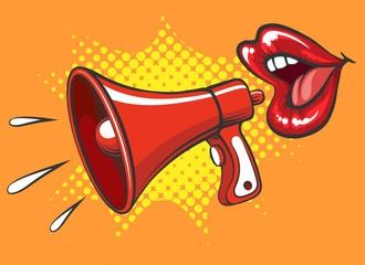 Announcement concept with megaphone and women mouth in pop art style retro vector illustration