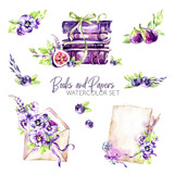 Watercolor borders set with old books, envelope, paper, flowers, figs and berries. Original hand drawn illustration in violet shades. Summer design. ClipArt elements. Scrapbooking collection. - 195254804