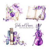 Watercolor borders set with old books, envelope, key, violin, flowers and berries. Original hand drawn illustration in violet shades. Summer design. ClipArt elements. Scrapbooking collection. - 195254813