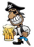 Pirate Cartoon Character  Peg Leg Eye Patch And Beer Wall Sticker