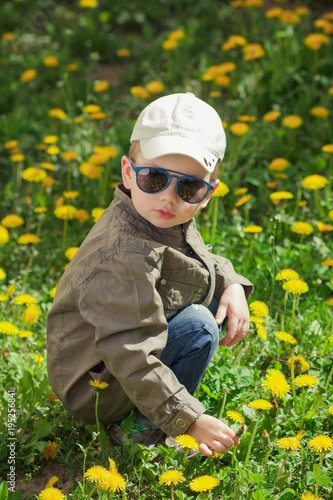 Fototapeta Child on green grass lawn with dandelion flowers on sunny summer day. Kid playing in garden.