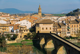 Views to the town of Puente la Reina, Spain - 195257684