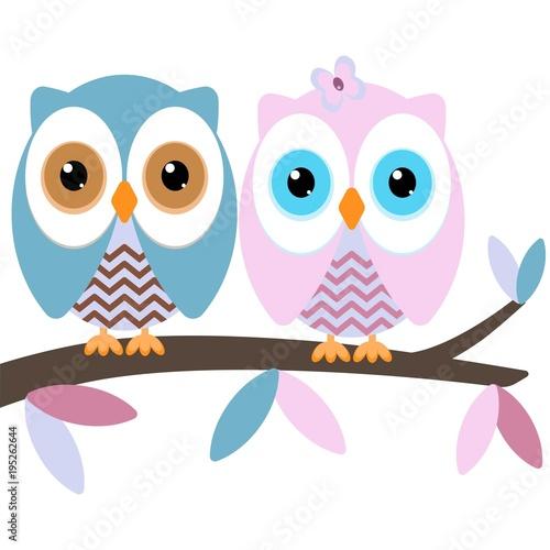 In de dag Uilen cartoon two owls on a branch