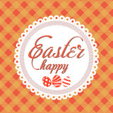 Happy Easter greeting card with handwritten text on orange background. Vector. Vector.