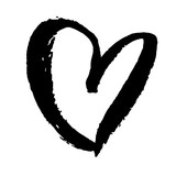 Grunge heart. Valentine day print. Vector illustration - 195267847