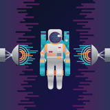 Vector icon of astronaut with sound radar in space - 195277845