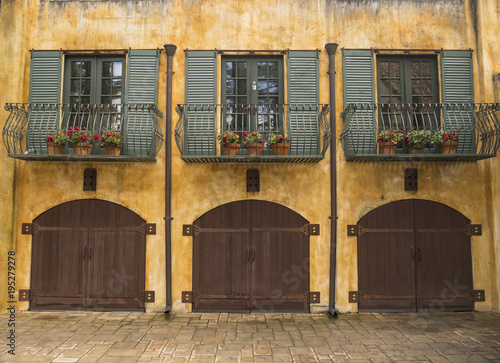 Wide View Italian Two Story Building with Courtyard