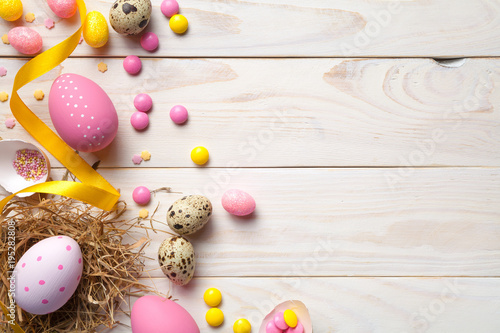 Easter Background with Easter Eggs - 195282808