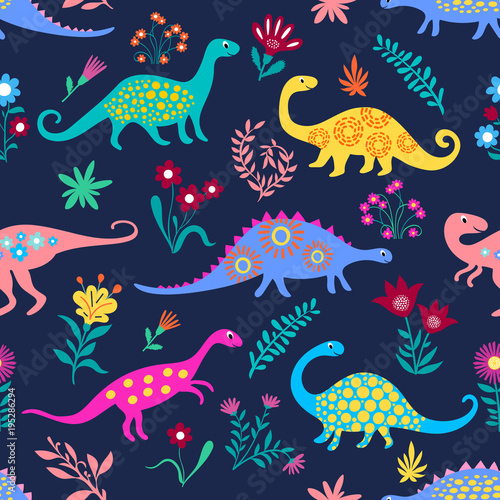 Cotton fabric Dinosaurs Cute kids pattern for girls and boys, Colorful Cartoon Animals on the abstract seamless background, Artistic Backdrop for textile and fabric.