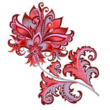 decorative   flower with oriental style - 195289215
