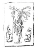 Aztec drawing with folk types and characters from the time of Alexander Von Humbolt expedition to Mexico 1803-1804 - 195292431