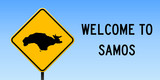 Samos map on road sign. Wide poster with Samos island map on yellow rhomb road sign. Vector illustration. - 195292635