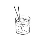 Hand drawn vector abstract graphic artistic cooking ink sketch illustration drawing of alcohol cocktail drink in glass isolated on white background - 195298213