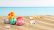 Easter on beach background. Eggs