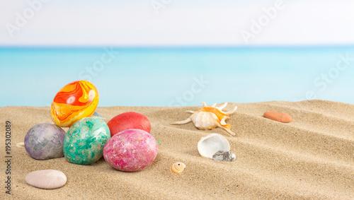 Easter on beach background. Eggs