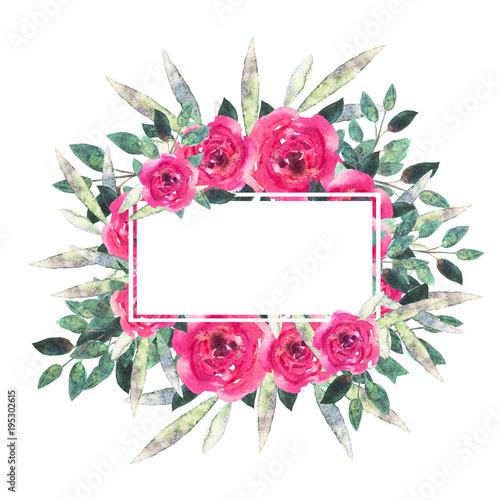 Watercolor flowers, leaves. Wreath, floral frame © nataleana