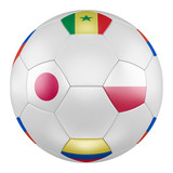 3D soccer ball with group H flags of Poland, Senegal, Colombia, Japan on white background. Match between Japan and Poland - 195303887