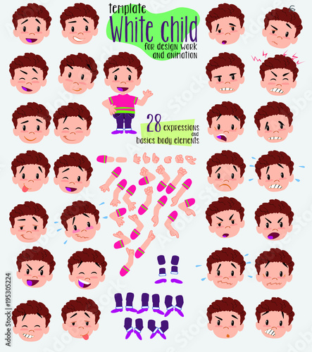 Boy in shirt. Twenty eight expressions and basics body elements, template for design work and animation. Vector illustration to Isolated and funny cartoon character.
