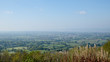 View over The Severn Vale from Stinchcombe Hill viewpoint, Cotswolds, Gloucestershire, UK