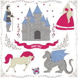 Fairy Tale Theme Prince Princess Castle Dragon Fairy Horse  Of Decorative Design Elements  Objects Vintage  Illustration Wall Sticker