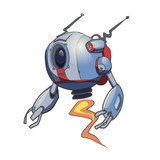 Flying Spherical Robot  Illustration    Wall Sticker
