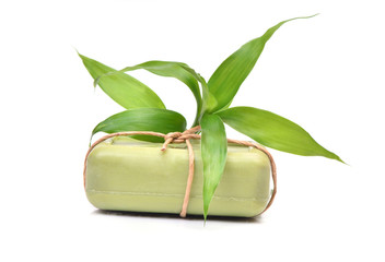 Soap with bamboo leaves