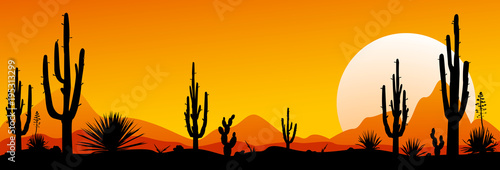 Mexico desert sunset. The stony desert - 195313299