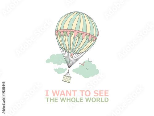 Fototapeta Motivational travel poster with balloon.
