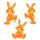 Collection of red-haired rabbit sitting and dancing, cartoon on white background, - 195314076