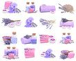 Lavender sets for beauty  on a white background