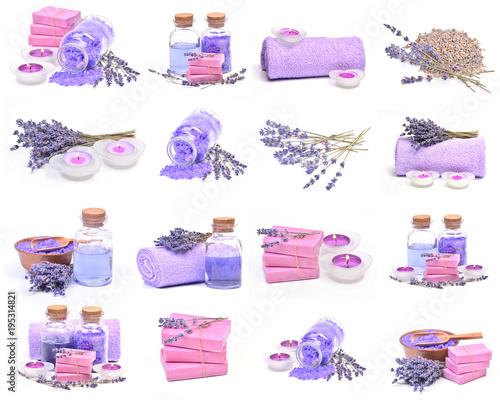 Fototapeta Lavender sets for beauty on a white background