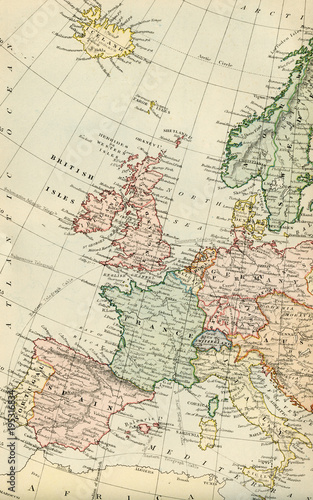 Vintage Map of Europe - Early 1800 Antique Maps of the World © Vector Hut