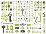 Vector illustration with design illustrations for decoration. Big silhouettes set of keys, locks, arrows, illustrations on white background. Vintage style. - 195319820