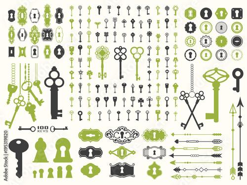 Vector illustration with design illustrations for decoration. Big silhouettes set of keys, locks, arrows, illustrations on white background. Vintage style.