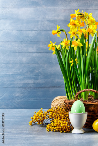 Foto op Canvas Natuur Easter holiday card with eggs yellow spring flower narcissus