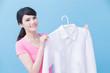 housewife take clean shirt