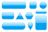 Blue glass buttons. Geometric shaped 3d icons set