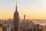 New York City - USA. View to Lower Manhattan downtown skyline with famous Empire State Building and One World Center and skyscrapers at sunset. © Simon Dannhauer