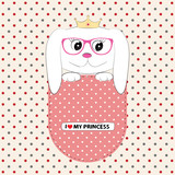 Cute dog princess in the pocket.  Greeting card.