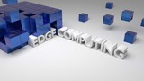 Blue metallic cubes on white with the integrated words edge conputing - 195325609