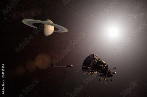 Fototapeta 3D rendering of an unmanned spacecraft approaching the planet Saturn