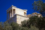 View of the temple of Athena Niki or Apterou Nikis on Acropolis of Athens, Greece. - 195327449