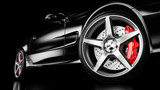 Black luxury car in studio lighting. 3d