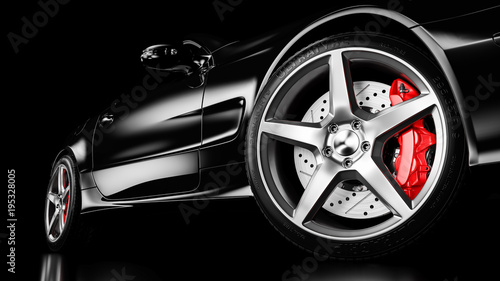 Black luxury car in studio lighting. 3d - 195328005