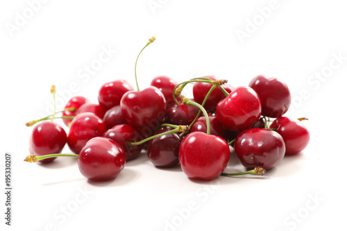 Fotobehang Kersen cherry fruit on white background