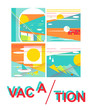 abstract , vacation,  retro style, on a white