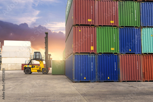 Fototapeta Forklift is working in container depot.